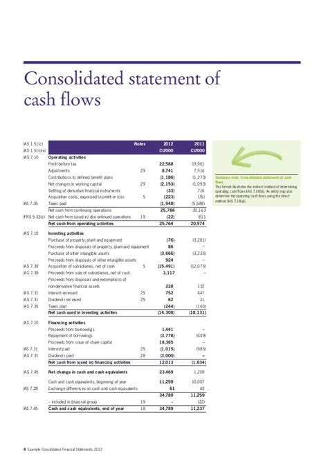 consolidated income statement template exle consolidated financial statements 2012