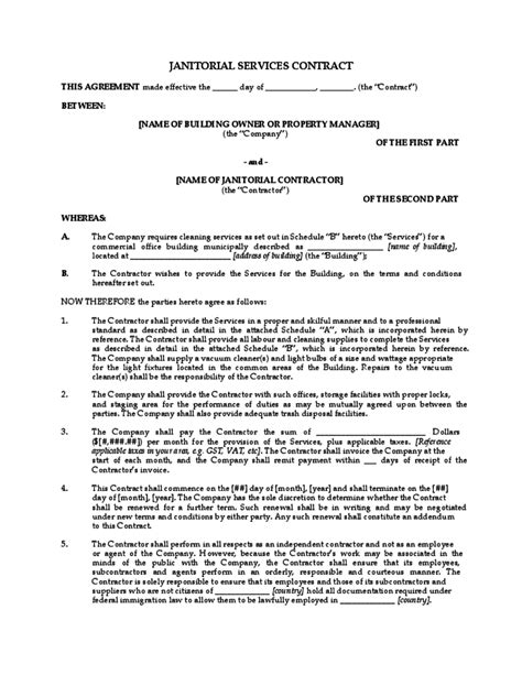 contract for cleaning services template janitorial services contract free