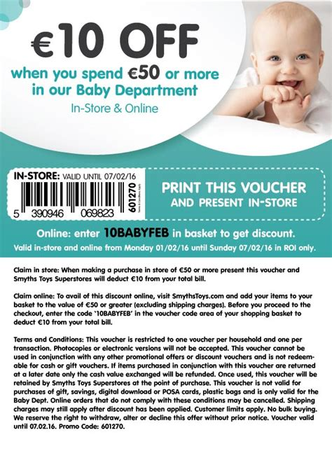 printable smyths vouchers smyths 10 off when you spend 50 or more in baby