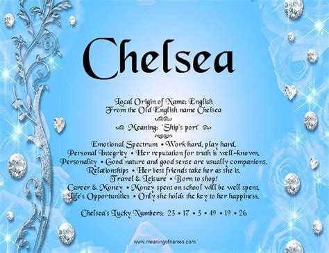 Chelsea Meaning | 82 best images about meaning of names on pinterest
