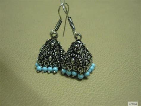 black metal jhumka earrings blue shopping