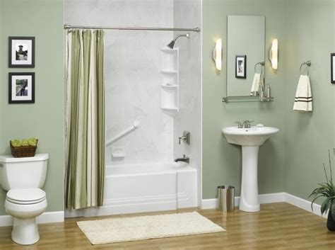 Modern Bathroom Paint Colors Green Wall Color With Modern Pedestal Sink For Small Bathroom Ideas With White Tub Lestnic