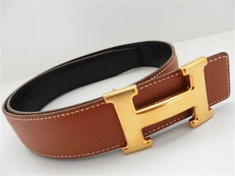 authentic hermes constance reversible belt leather brown