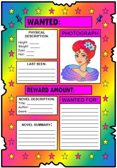 book report wanted poster template wanted poster book report projects templates printable