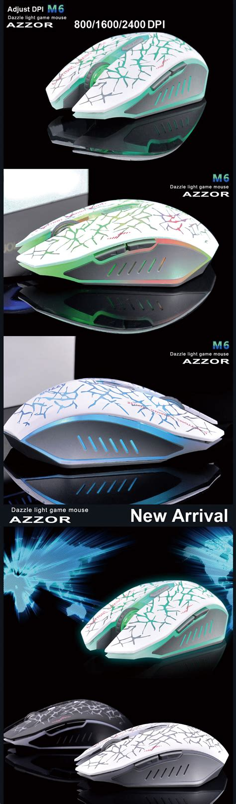 Mouse Gaming Gaming Mouse Azzor Wireless Rechargeable Usb 2400 2 4ghz Wireless Azzor M6 Rechargeable Silent Ergonomic