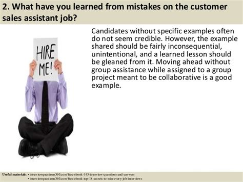 top 10 customer sales assistant questions and answers