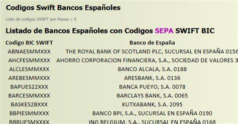 lista de codigos para transferencias bancarias