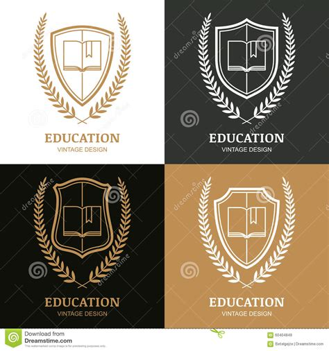school logo design template open book shield and laurel wreath linear symbol stock