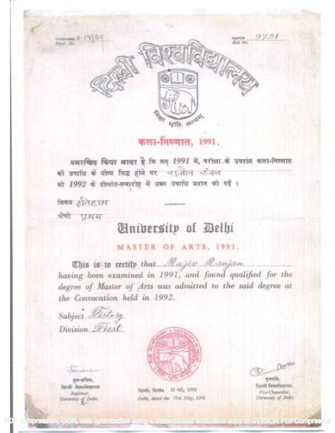 Ignou Mba Degree Certificate by Master Of Arts Delhi Degree Certificate