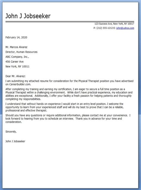 physical therapist cover letter sle resume downloads
