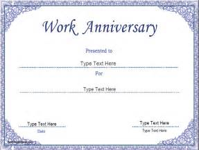 Work Certificate Template by Business Certificates Work Anniversary Certificate