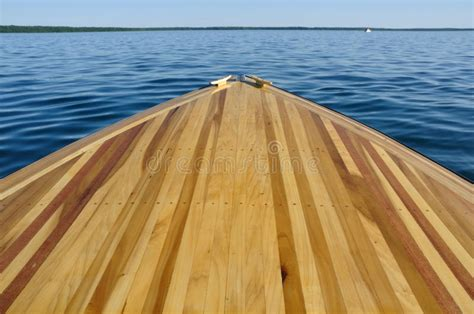 wooden boat bow wood strip bow deck of wooden boat stock image image