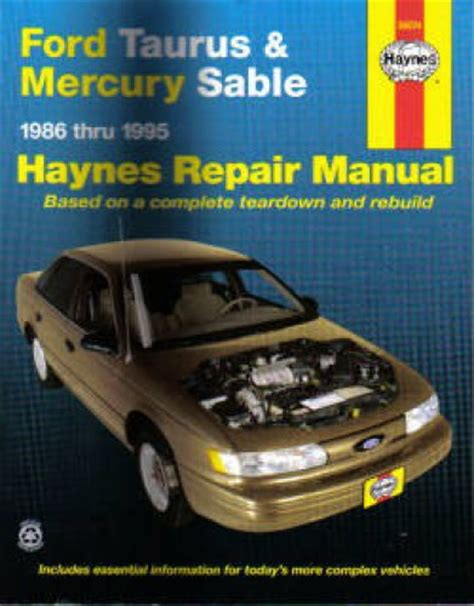haynes ford taurus mercury sable 1986 1995 auto repair manual