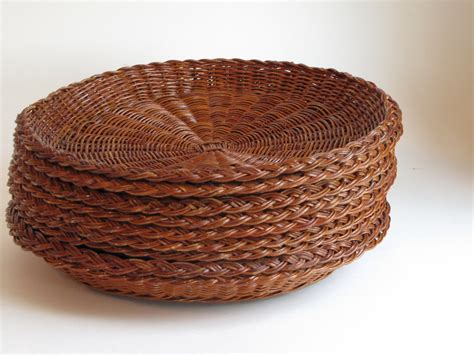 paper plate holder vintage wicker paper plate holders set of by