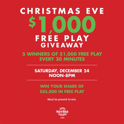 Free Christmas Giveaways - christmas eve 1 000 free play giveaway ta fl dec 24 2016 12 00 pm