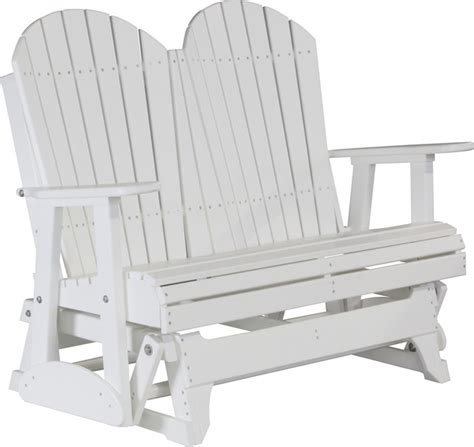 white outdoor glider bench 4 poly adirondack glider bench white modern outdoor