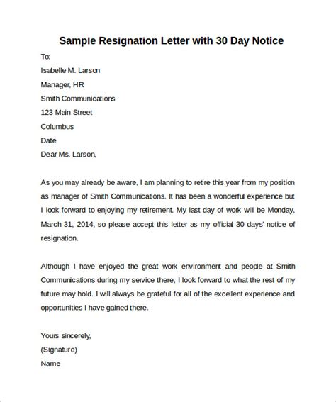 30 Days Notice Letter sle 30 days notice letter 7 free documents in word pdf