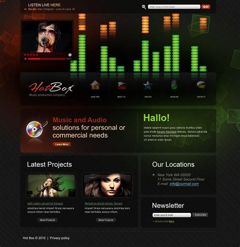 recording studio website template 28916