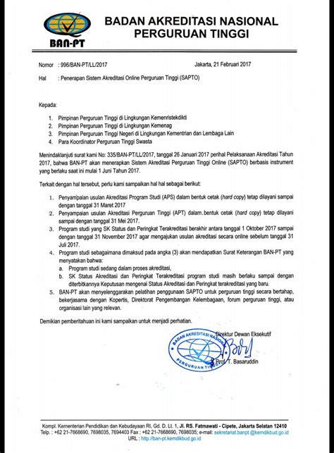 Surat Ban Pt by Edaran Ban Pt Tentang Penerapan Sistem Akreditadi