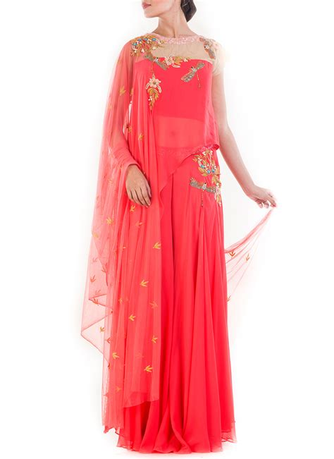Pallazo Set by Buy Pink Asymmentrical Palazzo Set Indowestern Sets And