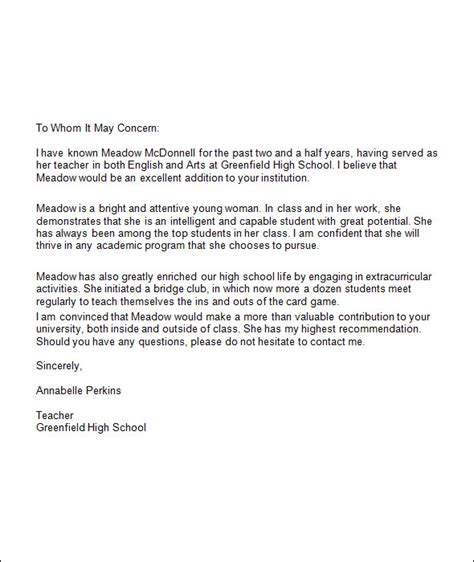 high school recommendation letter template recommendation letter for college template resume builder