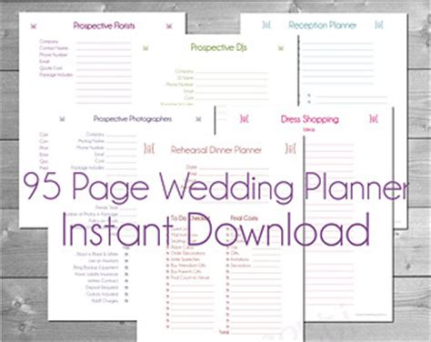 printable free wedding planner book planner kit etsy