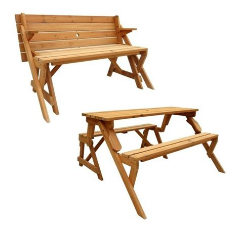 flip top bench table folding picnic table and bench solid wood outdoor patio lawn garden p