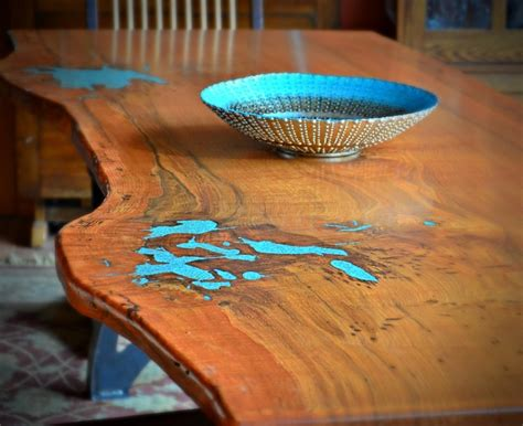 Mesquite Coffee Table With Turquoise Inlay Table Design