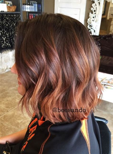 copper and brown sort hair styles copper balayage textured bob blondes bobs balayage