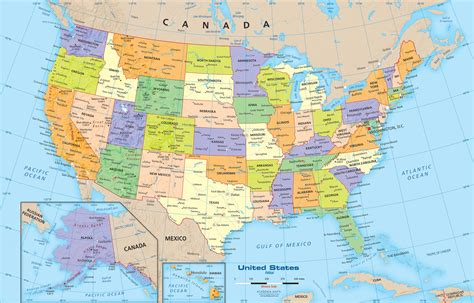 united states political map wall mural  academia