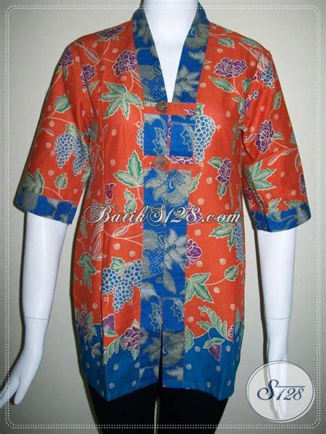 Atasan Batik Dobi Asli Palembang Murah baju warna orange baju batik kombinasi warna hitam dan orange berpadu motif baju batik wanita