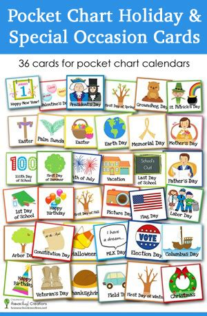 printable calendar cards pocket chart holiday and special occasion calendar cards