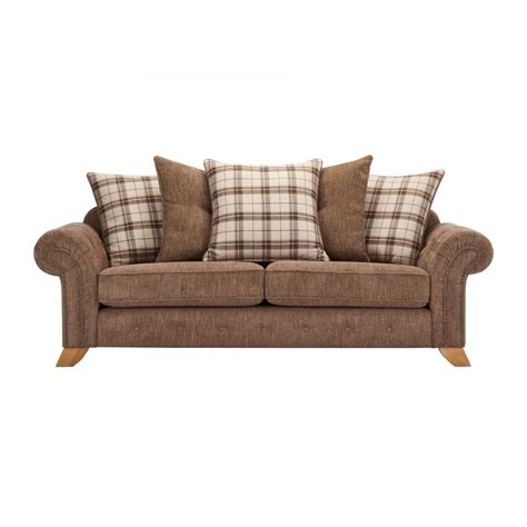 Restuffing Pillows by Montana 3 Seater Pillow Back Sofa In Brown Tartan Cushions