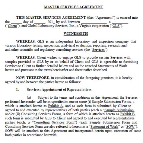 master services agreement template sle master service agreement 8 documents in pdf word