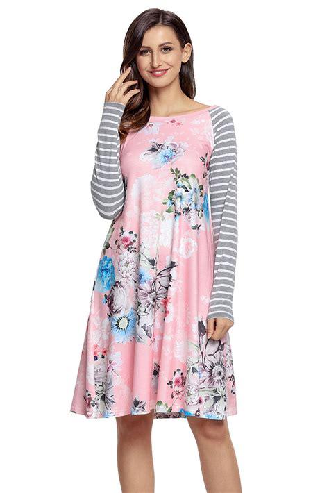 Flowers Stripe Dress us 23 25 zkess pink floral print stripe raglan sleeve dress