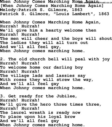american song lyrics for when johnny comes marching