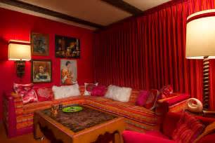 red velvet wrapped palm springs home  time capsule