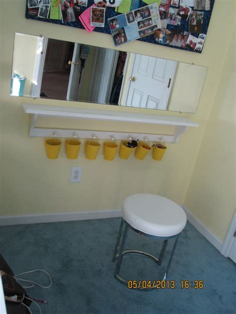 diy vanity makeup table out of shelf and mirror not a lot