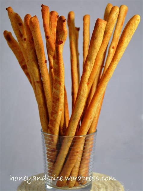 Cheesy Whole Wheat Grissini (Breadsticks)   Honey and Spice
