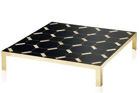 Gold Gilded Brass Black Geometric Inlay Coffee Table Wooden Coffee Tables Uk