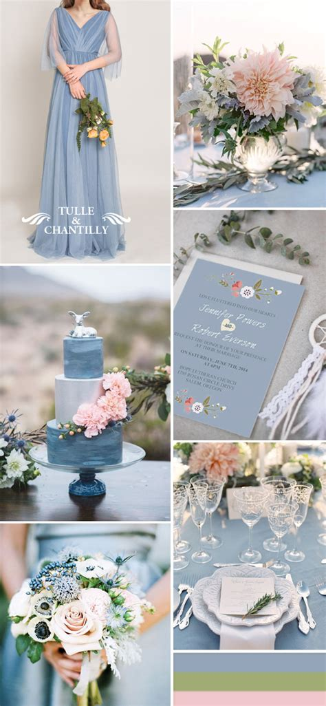 pink and blue wedding colors dusty blue