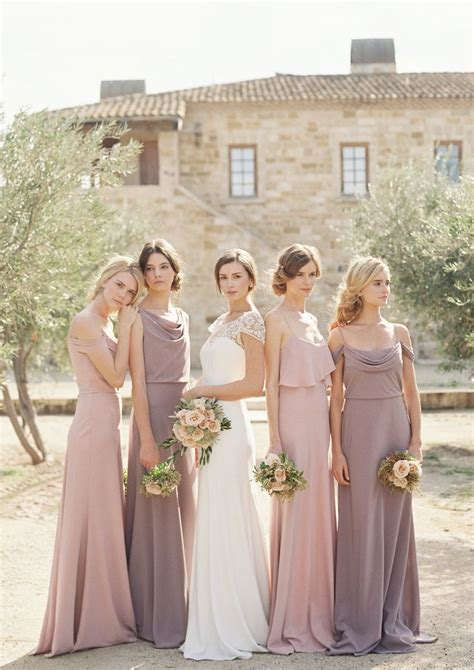 different color bridesmaid dresses mix of crepe de chine dresses hayden bridal gown by