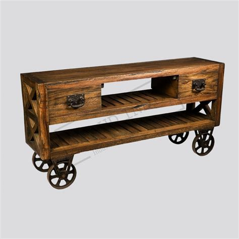 Industrial Console Table With Drawers industrial cart console table with drawers