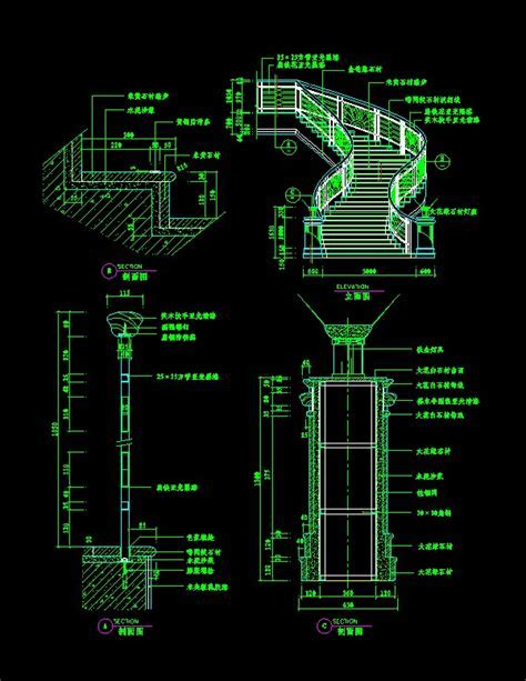 Three dimensional CAD drawings of stairs, Autocad Drawing
