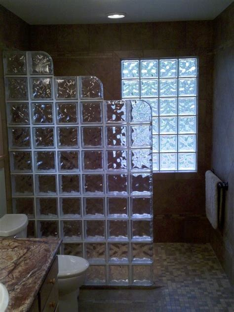 elegant glass block designs for bathrooms for existing