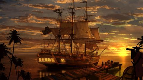 Sea Themed Home Decor by Pirate Ship Wallpaper 24699