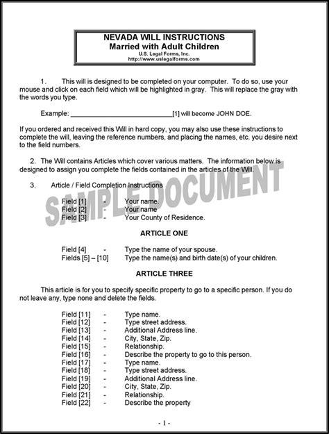 Last Will And Testament Template Free Template Download Customize And Print Free Nevada Will Template