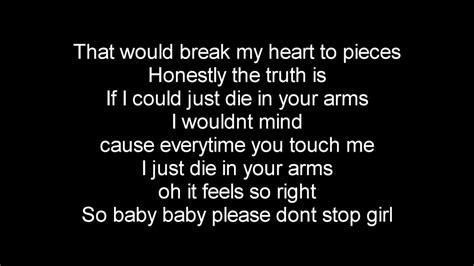 die in your arms justin bieber lyrics die in your arms lyrics justin bieber youtube