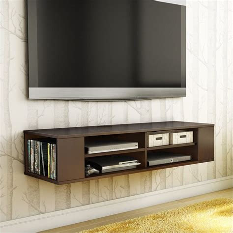 wall mounted tv stands south shore city wall mounted media console chocolate