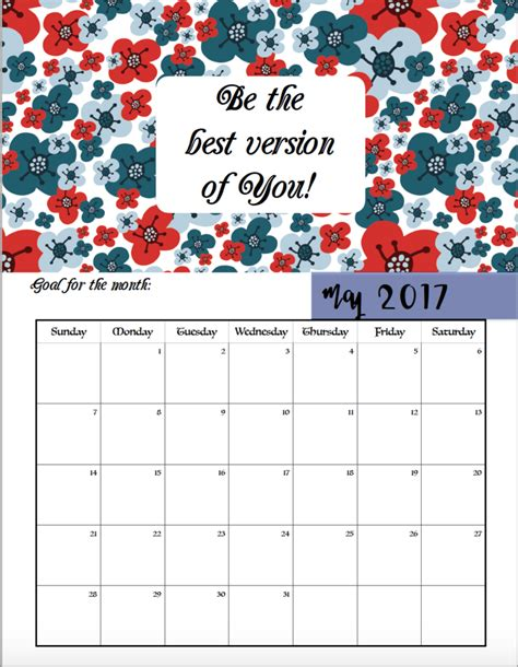 Calendar With Motivational Quotes Free Printable 2017 Motivational Monthly Calendar